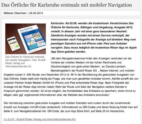 Pressemitteilung in Magazin b4b Baden Württemberg